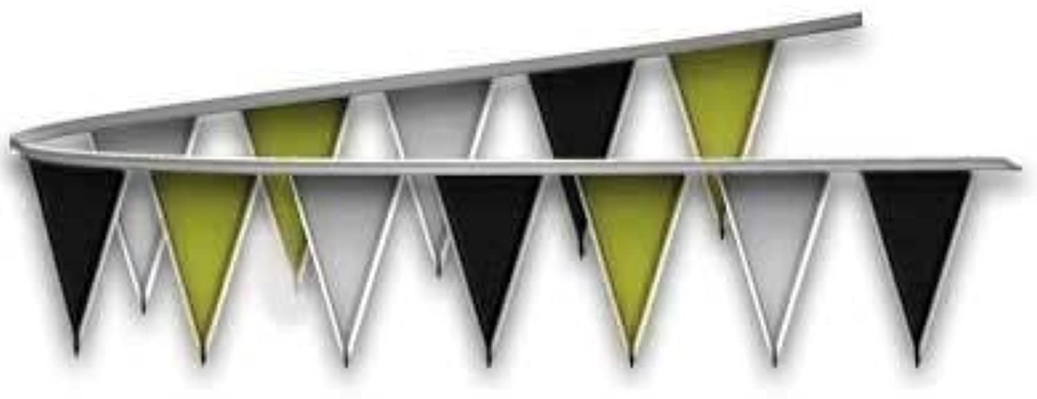 Ziggos Party Black,gold,and Silver Metallic Triangle Pennant Flag 50 Ft.