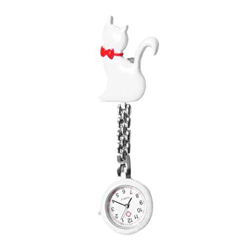 Mayoaoa Neue Quarzuhr Katze Cartoon Mode Taschenuhren Hängen Clip Arzt Frauen Dame Schmuck Charme Silber Anhänger Nette Brust Hängen Liefert