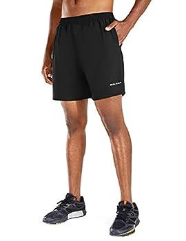 BALEAF Men s 5  Running Athletic Shorts Zipper Pocket for Workout Gym Sports Black Size M