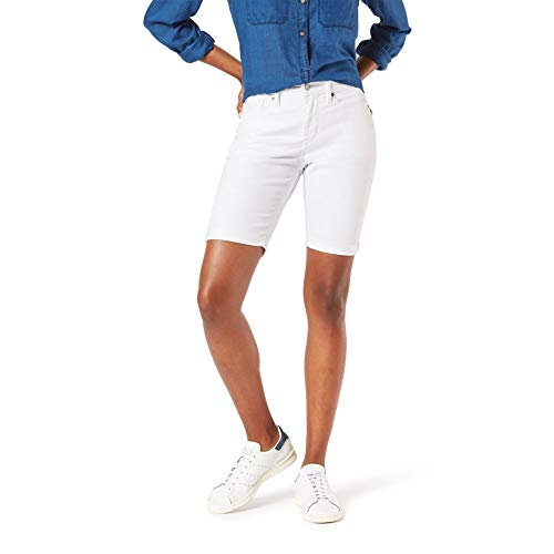 Signature by Levi Strauss & Co. Gold Label Women's Mid-Rise Bermuda Shorts, White Dove, 14