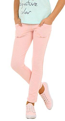 Solvera_Ltd Solvera_Ltd Mädchen Kinder Hose mit Taschen Elastische Stretch Einfarbig Röhre Frühling Sommer 116-158 (Rosa, 116)