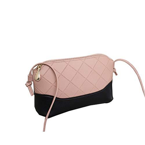 Ai-yixi Bolso bandolera para mujer, diseño clásico, estilo rombóbico, retro, color a juego, perfecto salvaje (color: rosa, tamaño: 20 x 13 x 8 cm)