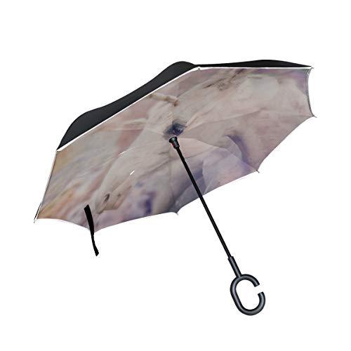 Double Layer Inverted Wende-Regenschirme für Frauen Mädchen Kranz sitzen und lehnen auf weißen Pferd Einhorn Faltschirme Kinder Wende-Regenschirm Winddichter UV-Schutz für Regen mit C-förmigem Griff