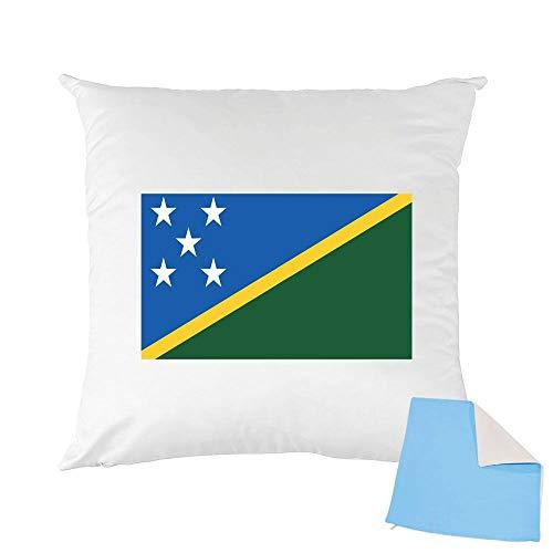 Mygoodprice Kissenhülle, zweifarbig, Bedruckt, 40 x 40 cm, Flagge Salomon azurblau