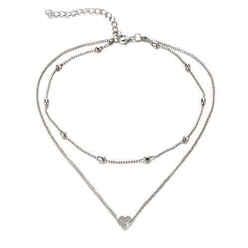 Qier Necklaces For Women,Dainty Valentines Day Clavicle Pendant Choker,Anniversary Birthday Romantic Jewelry Gift For Girlfriend Wife,Simple Peach Heart,Silver,One Size