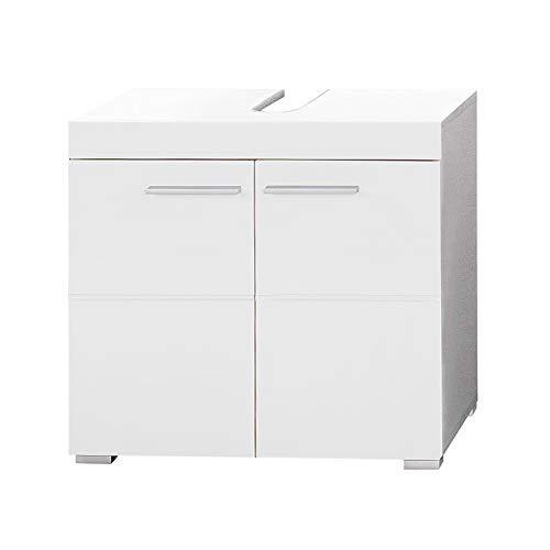 trendteam smart living Badezimmer Waschbeckenunterschrank Unterschrank Amanda, 60 x 56 x 34 cm in Weiß / Weiß Hochglanz mit viel Stauraum