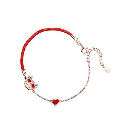 Pulsera de plata de ley con dije de buey chino, cadena roja, buena suerte para mujer, regalo de aniversario de cumpleaños