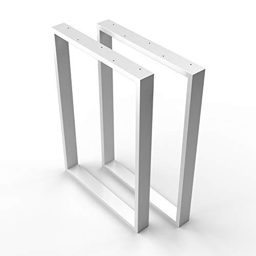 sossai® Design Pied de Table en Profilés d'Acier TKK1| 2 pièces | Armature de Table | Largeur 60 cm x Hauteur 72 cm | Couleur : Blanc | acier de haute qualité