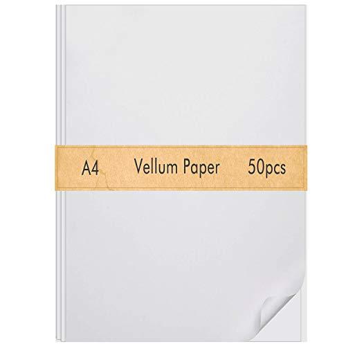 FEPITO 50 Blatt Pergamentpapier 8,5 x 11 Zoll Transparentes Zeichen- und Transparentpapier Transparentes Papier zum Skizzieren von Zeichnungsanimationen