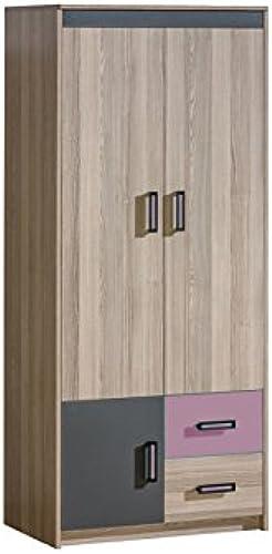 SMARTBett Kleiderschrank mit ZWeißTüren und 2 Schubladen Esche Dunkel lilat
