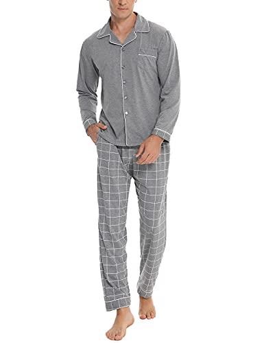 NC Pijama Hombre Invierno Algodón con Botones Cuello Redondo Bolsillos Ropa de Dormir Hombre Estar por Casa Conjunto de Pijama Largo con Mangas Largas Comfortable