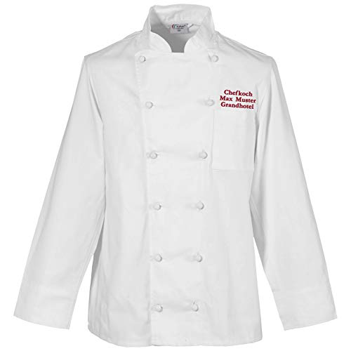 Kochjacke Bäckerjacke weiß langarm inklusive Wunschstickerei Gr. XS - 5XL