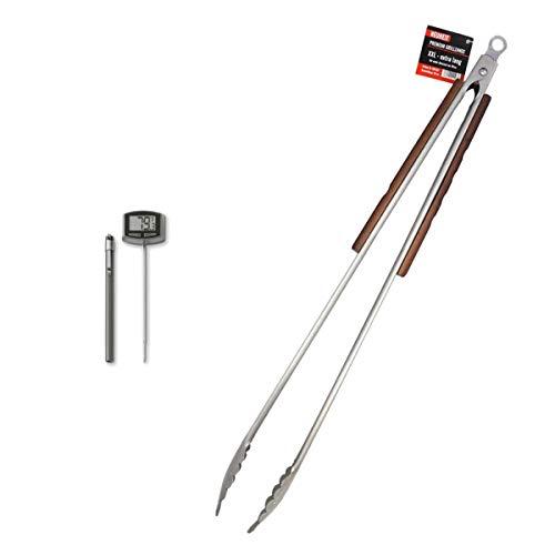 Stellfeld und Ernst Premium XXL Holz-Grillzange + Weber Digital Thermometer Basic 8304 | 6492 für Ihren z. B. Weber Broil King Grill