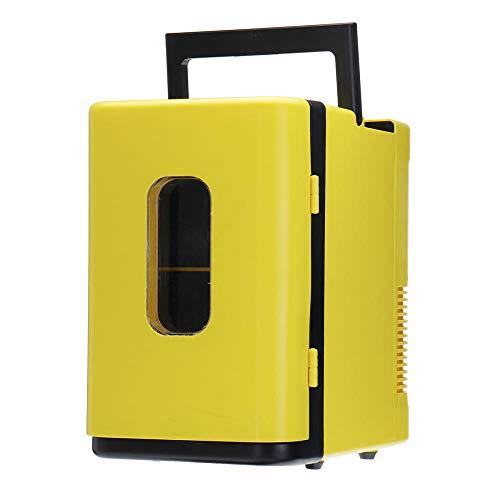 FIONAT Refrigerador de coche de 10L 220 V, Mini nevera automática, nevera, congelador, caja de refrigeración, nevera para almacenamiento de frutas y alimentos, 35 * 22 * 32 cm-Yellow_