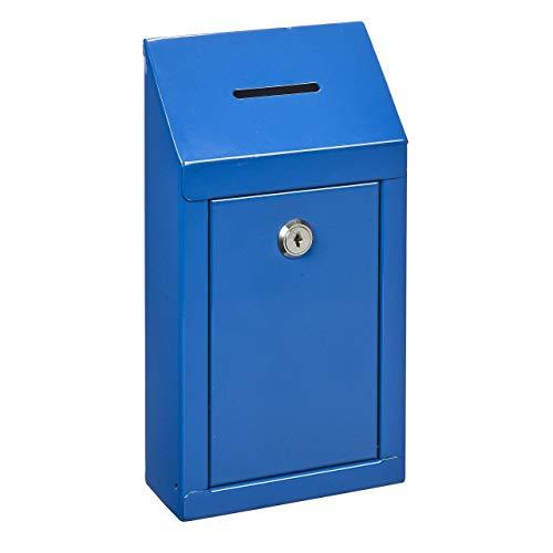 Spendenbox aus Metall zur Wandmontage oder für die Arbeitsplatte, mit Münzschlitz, Schloss mit 2 Schlüsseln blau