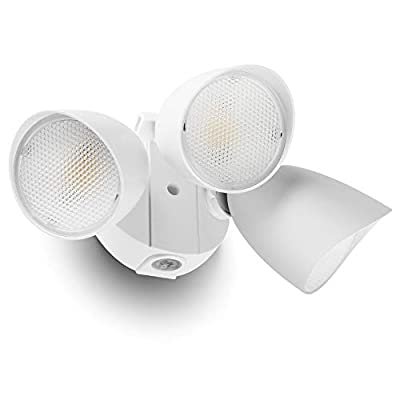 LUTEC 3500 Lumen 45 Watt 45 LED Triple-Head Flood Lights Outdoor Full Metal Design Waterproof Exterior Security Lights for Garage Patio, Garden, Yard-White