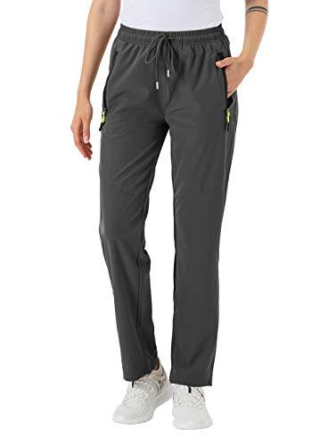 donhobo Damen Outdoor Hose Strapazierfähige Wanderhose für Frauen Wasserabweisende Damen Hose Elastische Taille mit Tunnelzugbund (Grau, 2XL)