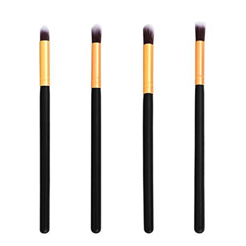 Lurrose 4pcs pinceaux de maquillage pinceaux de fard à paupières nez pinceaux de mélange des yeux pour dame (noir et or)