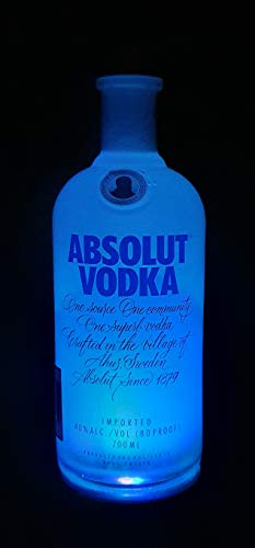Absolut Vodka - Flaschen Lampe mit LED Podest Frost Upcycling Geschenk Idee