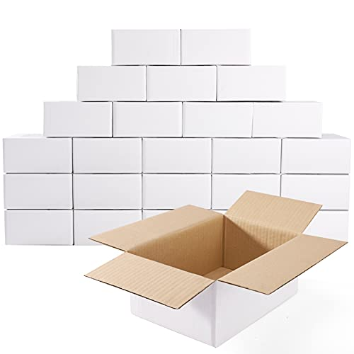 MESHA White Corrugated Mailing Box 9X6X4 Shipping Boxes Cardboard For Small Business Packaging Mailer 25PACK