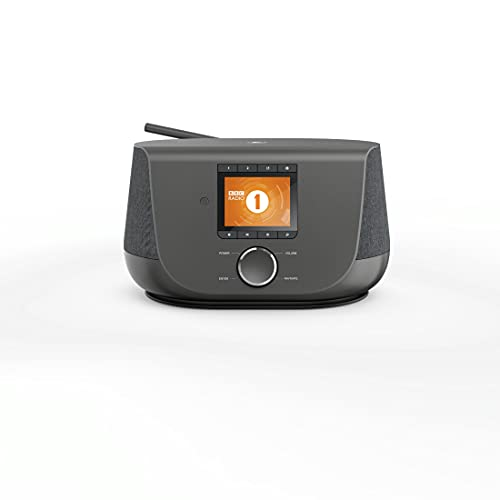 Hama 54228 Internetradio mit Digitalradio-Empfang, 2-Wege-Lautsprecher & Handy-Ladefunktion(SmartRadiomitWLAN/DAB/DAB+/FM,Bluetooth/SpotifyStreaming,Stationstasten,Radio-Wecker,App)InternetRadio