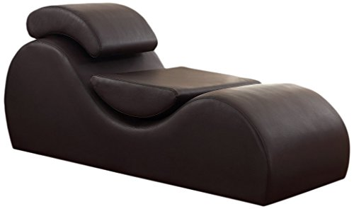 US Pride Furniture Faux Leather Deluxe Stretch Chaise Relaxation and Yoga Chair with Removable Pillows, Dark Brown