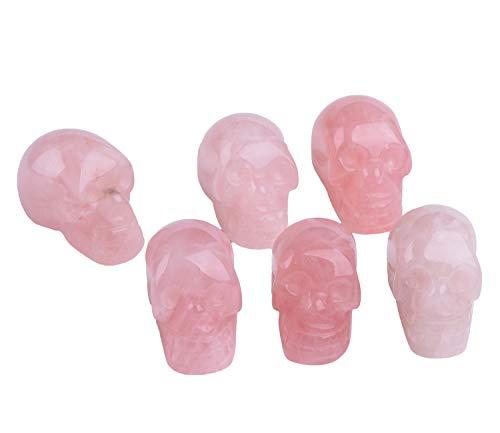 AMOYSTONE 6pcs Skull Statue Rose Quartz Crystal Stone Human Skull Figurine Statues Sculptures Carving 1.5'