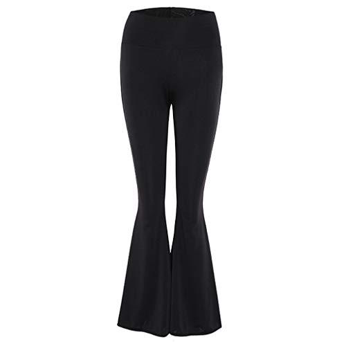 OYSOHE Frauen Yoga Hose Bell-Bottom Leggings Hohe elastische Skinny Schwarz Beiläufig Schlaghosen Jogginghose(Schwarz,S)