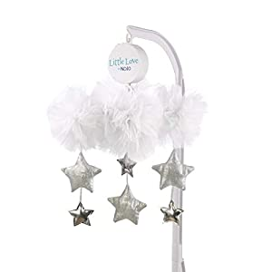 NoJo Nursery Crib Musical Mobile, Tulle Cloud with Silver Metallic Stars, White/Silver