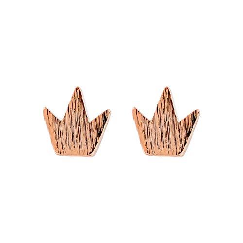 Selia Kronen Ohrring Crown Ohrstecker in minimalistischer Optik brushed handgemacht (Rosegold)