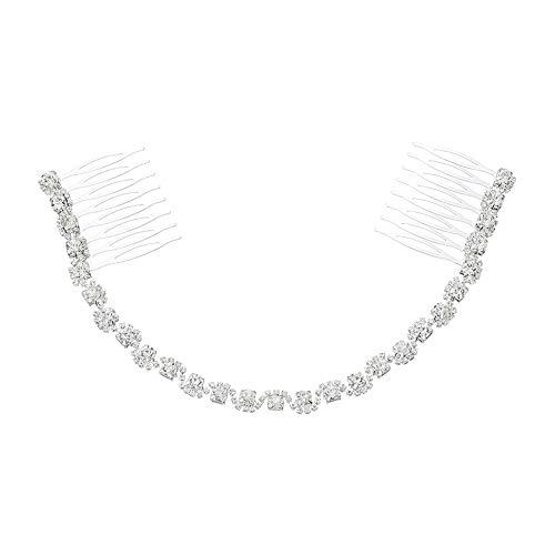 good001 Élégant Rhinestone Incruded Chain Double Slide Hairpin Hair Comb Mariée Mariée Mariage Wedding Hair Accessoire