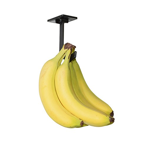 Banana Hanger – Under Cabinet Hook for Bananas or Other Lightweight Kitchen Items. Hook Folds-up When Not in Use. Self-Adhesive and Pre-drilled Holes (Screws Provided!) Keep Bananas Fresh.(Black)