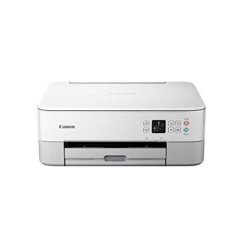 Canon PIXMA TS5351 Drucker Farbtintenstrahl Multifunktionsgerät DIN A4 (Scanner, Kopierer, OLED, 4.800 x 1.200 dpi, USB, WLAN, Duplexdruck, 2 Papierzuführungen), weiß
