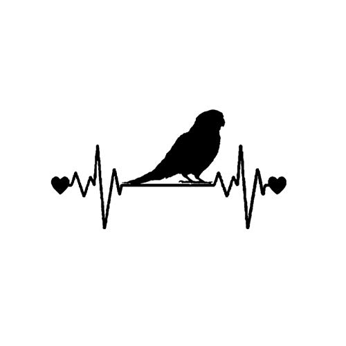 5 Piezas Etiqueta engomada del Coche 16 cm * 8,1 cm Divertido perico Lifeline Heartbeat Bird Vinilo Etiqueta engomada del Coche Negro