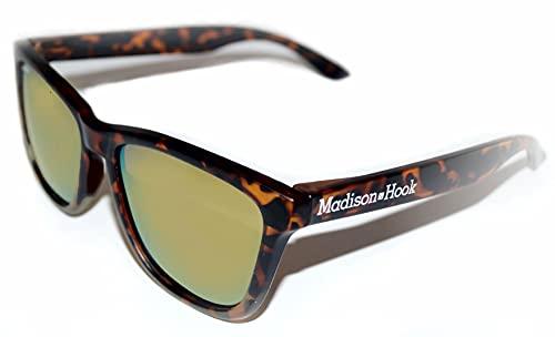 Gafas de Sol Polarizada Adultos Unisex Hombre y Mujer con Montura Marrón Leopard Mate y Lentes Espejadas con Reflejos Dorados