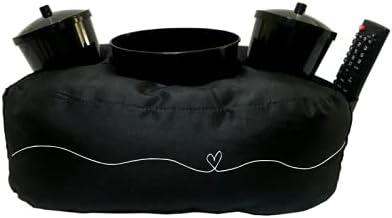 Almofada Porta Pipoca Laço Coração Cor:Preto