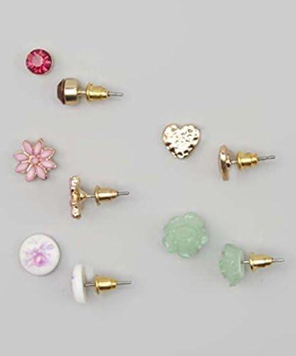 Lux Accessories Kids, Girls & Women's Pink & Green Flower Stud Earring Set