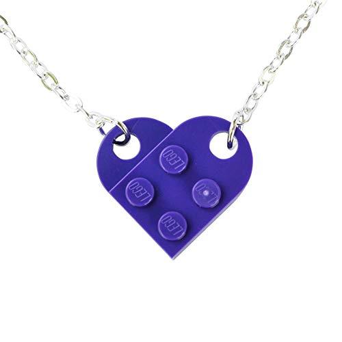 SJP Cufflinks Love Heart Necklace Handmade from Lego Plates (Purple) Wedding, Girlfriend, Valentines, Birthday, Ladies Jewellery Gift