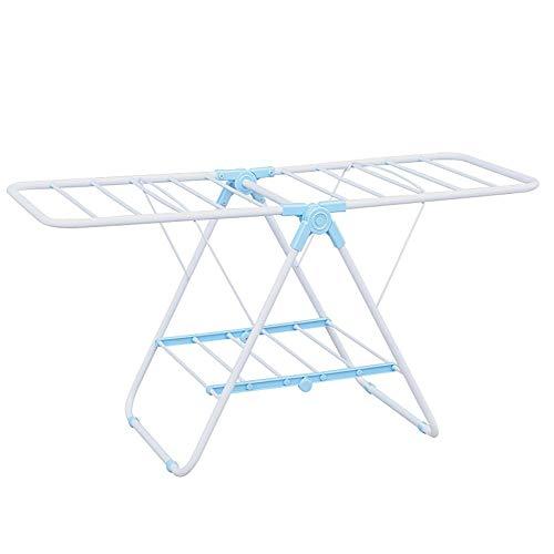 Hjypmjj Toallero, ajustable en altura, plegable, Portatoallas de pie, con zapatero Se puede colgar Toalla/azul / 100x55x44cm