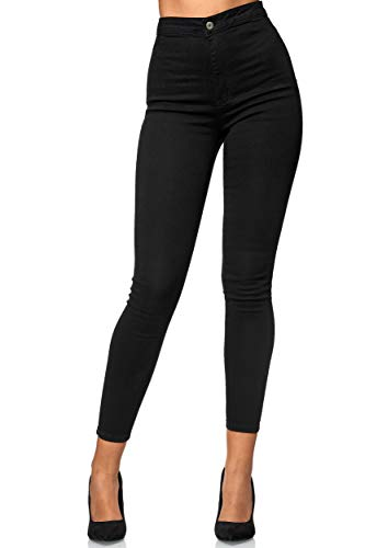 Elara Damen Jeans High Waist Slim Fit Chunkyrayan E154-1 Schwarz 36 (S)