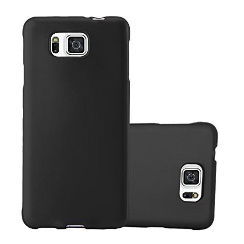 Cadorabo Funda para Samsung Galaxy Alpha en Metallic Negro – Cubierta Proteccíon de Silicona TPU Delgada e Flexible con Antichoque – Gel Case Cover Carcasa Ligera