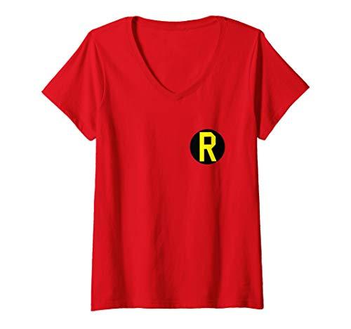Womens Batman Robin Left Chest Logo V-Neck T-Shirt