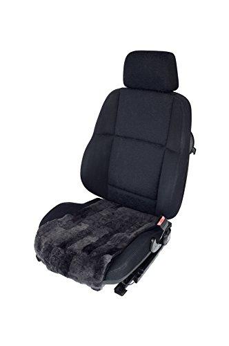 Autositzauflage/Sitzbezug für Sitzfläche aus echtem Lammfell (Patchwork) Breite 36 cm (schiefer)
