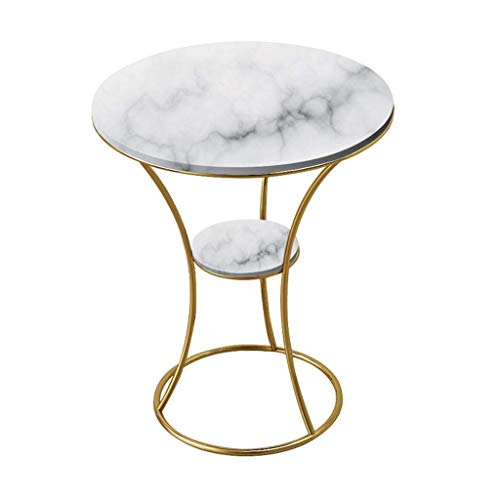 WGFGXQ Side Table Wrought Iron/End Table, Natural Marble Table Top, Metal Bracket, The Best Companion for The Living Room Sofa, Round, Multi-Color Optional