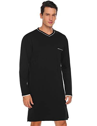 Avidlove Nachthemd Herren Langarm Baumwolle Schlafanzug Modisches Schlafanzugoberteil Schlafshirt Kurz Sleepshirt Blumen nachthemden Kurz für Männer Winter