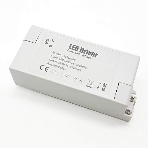 Adaptador LED VARICART IP44 24V 2.5A 60W, Fuente de Alimentación Conmutada Regulación AC DC, Transformador Constante Voltaje, Cámara CCTV, Tira de Luz, G4 MR11 MR16 GU5.3 Bombilla (Pack de 2)