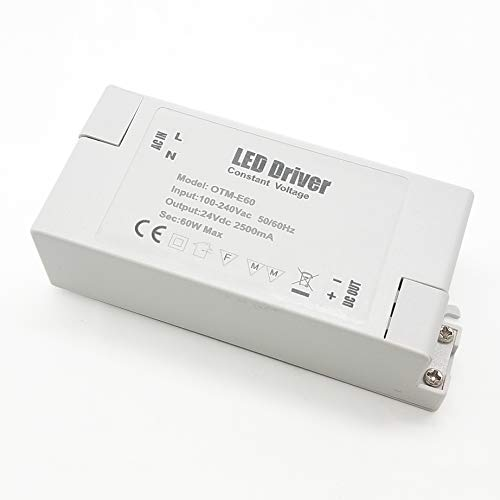 VARICART IP44 24V 2.5A 60W LED Treiber, Universal Reguliertes AC DC Schaltnetzteil, Konstanter Spannungswandler Adapter für CCTV Kamera Neonleuchte G4 MR11 MR16 GU5.3 Glühbirne (1-er Packung)