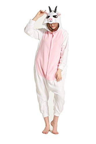 Novelty Halloween Costume Polar Fleece Animal Cosplay Goat Pajamas S White