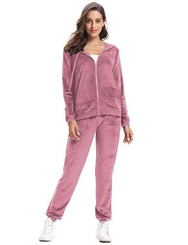 Abollria Damen Hausanzug Velours Trainingsanzug mit Samtoptik Kapuzejacke mit Reißverschluss Hose, Rosa, Gr.- M