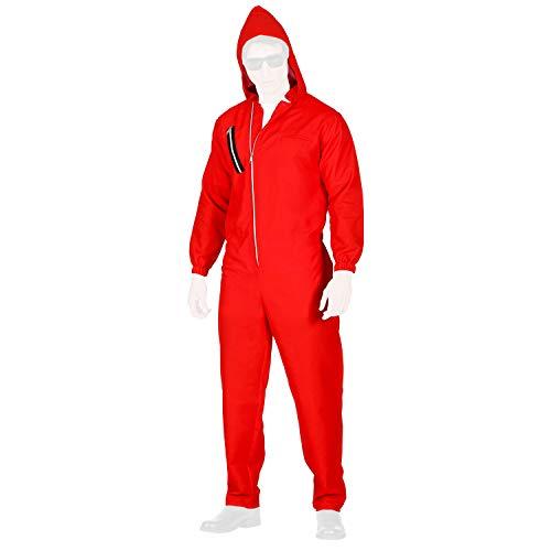 com-four® Mono Rojo con Capucha - Disfraces de Carnaval para Adultos - Disfraz de ladrón de Bancos para Hombre y Mujer en Diferentes Tallas
